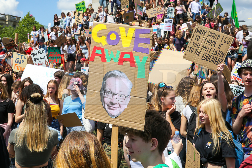 © Licensed to London News Pictures. 24/05/2019. London, UK. Hundreds of students rally in Trafalgar Square for Youth Strike 4 Climate Change Protest demanding the UK Government to declare a climate emergency. Photo credit: Dinendra Haria/LNP