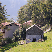 Cluster of historic buildings from the Ticino district at the Ballenberg Open Air Museum for Rural Culture, Switzerland<br />