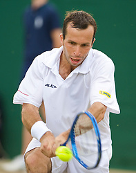LONDON, ENGLAND - Monday, June 29, 2009: Radek Stepanek (CZE) during the Gentlemen's Singles 4th Round match on day seven of the Wimbledon Lawn Tennis Championships at the All England Lawn Tennis and Croquet Club. (Pic by David Rawcliffe/Propaganda)