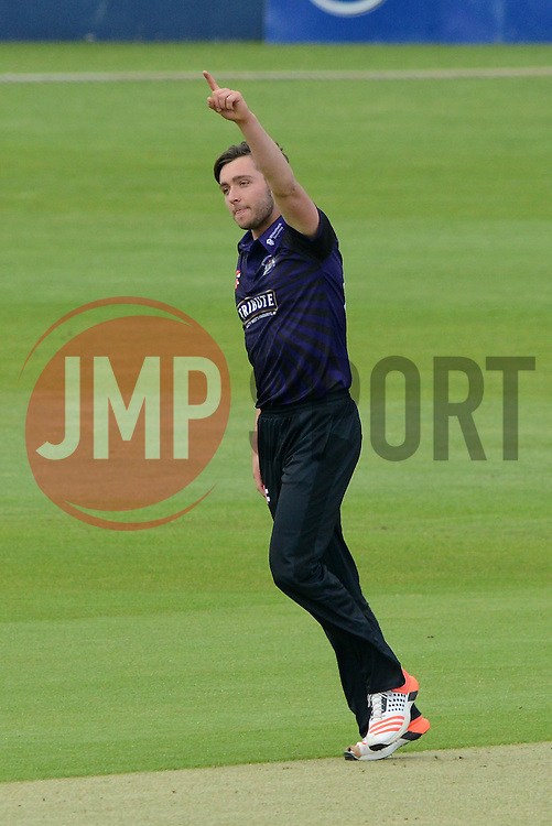 Matt Taylor of Gloucestershire celebrates getting the first wicket of the game - Photo mandatory by-line: Dougie Allward/JMP - Mobile: 07966 386802 - 15/05/2015 - SPORT - Cricket - Bristol - Bristol County Ground - Gloucestershire County Cricket v Middlesex County Cricket - NatWest T20 Blast