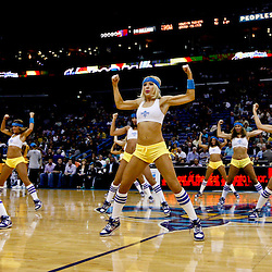 Jan 11, 2013; New Orleans, LA, USA; New Orleans Hornets Honeybees perform during the first half of a game against the Minnesota Timberwolves at the New Orleans Arena. The Hornets defeated the Timberwolves 104-92. Mandatory Credit: Derick E. Hingle-USA TODAY Sports