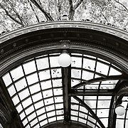 Ornate bus stop arch in Pioneer Square - Seattle, WA