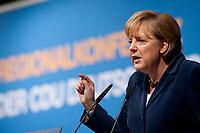 15 OCT 2010, BERLIN/GERMANY:<br /> Angela Merkel, CDU Bundesvorsitzende, haelt eine Rede, Regionalkonferenz der CDU fuer die Landesverbaende Berlin und Brandenburg, Palais am Funkturm<br /> IMAGE: 20101015-01-019