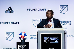 January 11, 2019 - Chicago, IL, U.S. - CHICAGO, IL - JANUARY 11: Anderson Asiedu is selected as the number twenty-four overall pick to the Atlanta United FC in the first round of the MLS SuperDraft on January 11, 2019, at McCormick Place in Chicago, IL. (Photo by Patrick Gorski/Icon Sportswire) (Credit Image: © Patrick Gorski/Icon SMI via ZUMA Press)