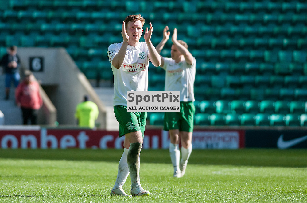 Hibernian Midfielder Liam Craig applauds the home crowd after Hibs' 4-1 victory over Alloa. Action from the Hibernian v Alloa Athletic game in the Scottish Championship at Easter Road in Edinburgh, 25 April 2015. (c) Paul J Roberts / Sportpix.org.uk