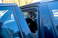 U.S. Senator Barack Obama (D-ILL) gets in his car after speaking with Wisconsin Governor Jim Doyle at a campaign for a get out the vote rally a week before the elections Tuesday Oct. 31, 2006 Milwaukee.  photo by Darren Hauck......................