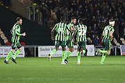 Lyle Taylor of AFC Wimbledon (centre) scores straight from kick off during the Sky Bet League 2 match between Newport County and AFC Wimbledon at Rodney Parade, Newport, Wales on 19 December 2015. Photo by Stuart Butcher.