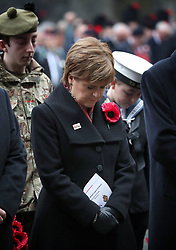 First Minister Nicola Sturgeon during a two minute silence at the Stone of Remembrance at the City Chambers, Edinburgh, on the 100th anniversary of the signing of the Armistice which marked the end of the First World War.