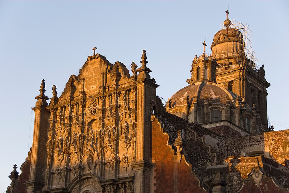 Mexico City-Jan 13: First morning rays of sunshine strike the Metropolitan Cathedral Sacristy Chapel on 13 Jan 2007 at Zocalo, Mexico City, Mexico
