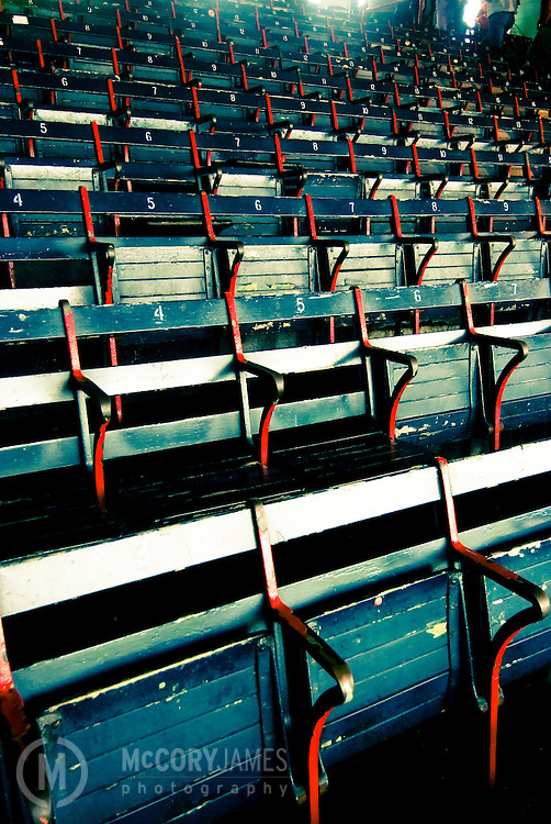 Bleachers inside Fenway Park, home of the Red Sox, in Boston, Massachusetts