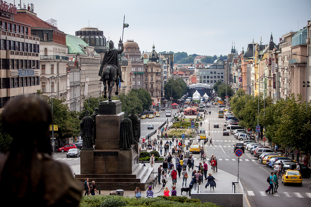 View to Prague Wenceslas Square and the Statue of St. Wenceslas from the backside.