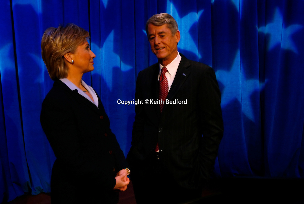 U.S. Senator Hillary Rodham Clinton(L) greets her Republican challenger John Spencer at the start of their debate in New York, October 22, 2006. Photo by Keith Bedford<br />