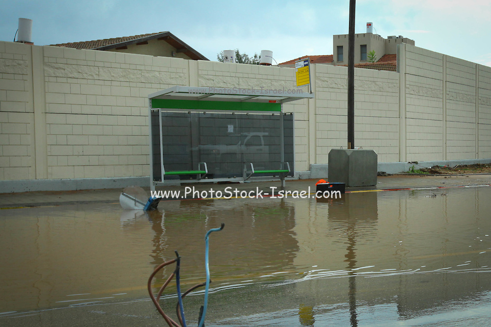 Heavy rains caused floods and water damages. Photographed in Israel Raanana in October