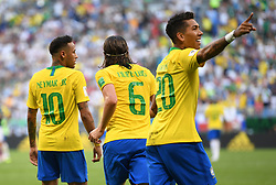 SAMARA, July 2, 2018  Roberto Firmino (R) of Brazil celebrates scoring during the 2018 FIFA World Cup round of 16 match between Brazil and Mexico in Samara, Russia, July 2, 2018. Brazil won 2-0 and advanced to the quarter-final. (Credit Image: © Li Ga/Xinhua via ZUMA Wire)