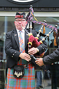 Piper starts events during the Soldier F Protest at Media City, Salford, United Kingdom on 18 May 2019.