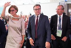 """01.07.2017, Design Center, Linz, AUT, ÖVP, 38. ordentlicher Bundesparteitag, mit Wahl von Bundesminister Kurz zum neuen Bundesparteiobmann, unter dem Motto """"Zeit für Neues - Zusammen neue Wege gehen"""". im Bild v.l.n.r. Landeshauptfrau Niederösterreich Johanna Mikl-Leitner (ÖVP), Landeshauptmann Tirol Günther Platter (ÖVP) und Landeshauptmann Salzburg Wilfried Haslauer (ÖVP) // during political convention of the Austrian People' s Party with election of Sebastian Kurz as the new party leader at Design Centre in Linz, Austria on 2017/07/01. EXPA Pictures © 2017, PhotoCredit: EXPA/ Michael Gruber"""