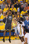 Golden State Warriors guard Nick Young (6) shoots a jumper against the New Orleans Pelicans at Oracle Arena during Game 2 of the Western Semifinals in Oakland, California, on May 1, 2018. (Stan Olszewski/Special to S.F. Examiner)