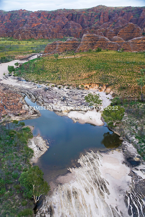 Aerial image of a scoured creek near the Bungle Bungles in the Kimberley wet season.