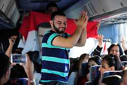 9/9/2013 Allentown, PA A man dances in the bus to patriotic Syrian songs. Members of the Lehigh Valley Syrian community travel by bus early Monday morning from Allentown to travel to Washington, DC to rally against the United States actions in Syria. Express-Times Photo | CHRIS POST
