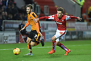 Wolverhampton Wanderers midfielder James Henry run down by Harry Toffolo of Rotherham United  during the Sky Bet Championship match between Rotherham United and Wolverhampton Wanderers at the New York Stadium, Rotherham, England on 5 December 2015. Photo by Ian Lyall.