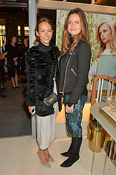 Left to right, LAVINIA BRENNAN and LADY NATASHA RUFUS-ISAACS at the launch of the new J&M Davidson flagship shop at 104 Mount Street, London on 3rd February 2016.