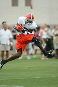 BEREA, OH - AUGUST 3:  Wide receiver Braylon Edwards #17 of the Cleveland Browns goes airborne to catch a pass during training camp at the Cleveland Browns Training and Administrative Complex on August 3, 2006 in Berea, Ohio. ©Paul Anthony Spinelli *** Local Caption *** Braylon Edwards