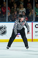 KELOWNA, BC - DECEMBER 27:  Line official Cody Wanner stands on the ice at the Kelowna Rockets against the Kamloops Blazers at Prospera Place on December 27, 2019 in Kelowna, Canada. (Photo by Marissa Baecker/Shoot the Breeze)