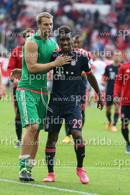 26.09.2015, Coface Arena, Mainz, GER, 1. FBL, 1. FSV Mainz 05 vs FC Bayern Muenchen, 7. Runde, im Bild Torwart Manuel Neuer (FC Bayern Muenchen #1) und Kingsley Coman (FC Bayern Muenche #29) // during the German Bundesliga 7th round match between 1. FSV Mainz 05 and FC Bayern Munich at the Coface Arena in Mainz, Germany on 2015/09/26. EXPA Pictures &copy; 2015, PhotoCredit: EXPA/ Eibner-Pressefoto/ Schueler<br /> <br /> *****ATTENTION - OUT of GER*****