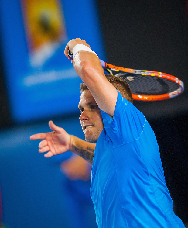 Vincent Millot (FRA) met A. Murray (GBR) in day 4 Men's Singles play at the 2014 Australian Open. Murray bested Millot 6-2, 6-2, 7-5.