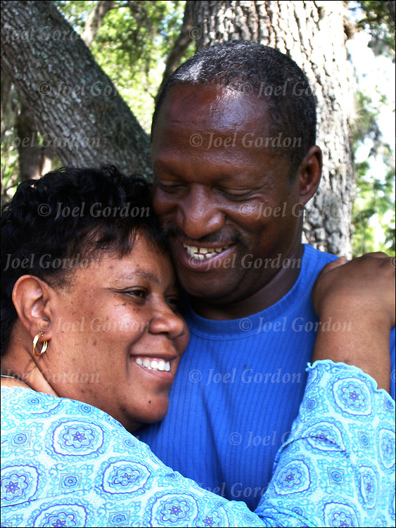 Romantic, happy, smiling married African American couple