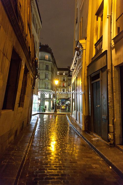 rue Cloche perce , le marais , under the rain at night  /// paris sous la pluie, le marais  la nuit