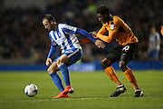 Brighton & Hove Albion centre forward Glenn Murray (17) and Wolverhampton Wanderers defender Kortney Hause (30) during the EFL Sky Bet Championship match between Brighton and Hove Albion and Wolverhampton Wanderers at the American Express Community Stadium, Brighton and Hove, England on 18 October 2016.