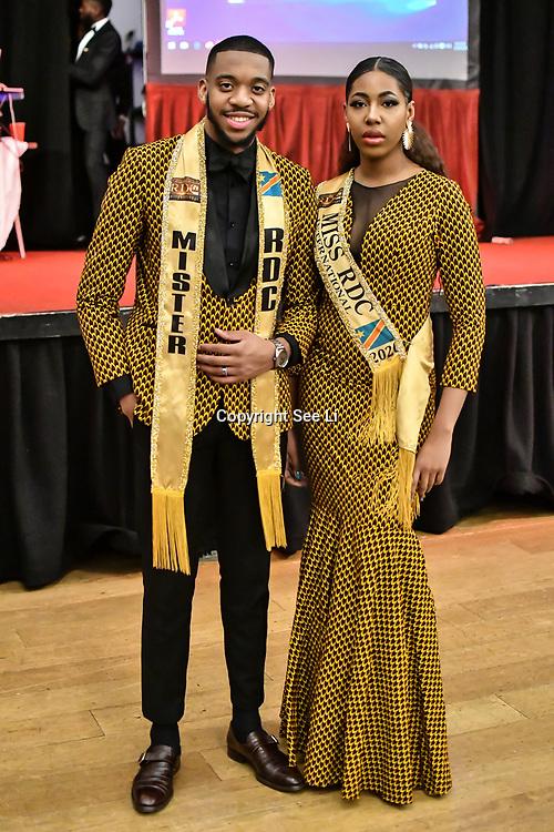Mister RDC International 2020 - Jamiroquai Luzolo & Miss RDC International 2020 - Alexandra Lea Tula attend the Mr & Miss Congo 2020,on 29th February 2020 at Old Townhall,Stratford, London, UK.