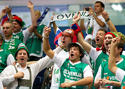 Fans of Slovenia during basketball game between National basketball teams of Slovenia and Finland at FIBA Europe Eurobasket Lithuania 2011, on September 12, 2011, in Siemens Arena,  Vilnius, Lithuania.  Slovenia defeated Finland 67-60. (Photo by Vid Ponikvar / Sportida)