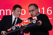 Milano, 4 gennaio 2016: Matteo Renzi con Sergio Marchionne  per il debutto del titolo Ferrari a Piazza Affari.