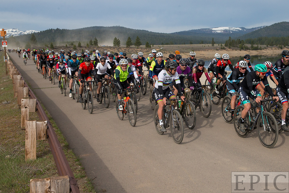 TRUCKEE, CA - MAY 05: Riders head out on course for the Sagan Fondo on May 5, 2018 in Truckee, California. (Photo by Jonathan Devich/Getty Images)