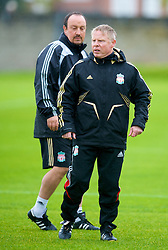 LIVERPOOL, ENGLAND - Tuesday, September 30, 2008: Liverpool's manager Rafael Benitez and assistant Sammy Lee during training at Melwood ahead of the UEFA Champions League Group D match against PSV Eindhoven. (Photo by David Rawcliffe/Propaganda)