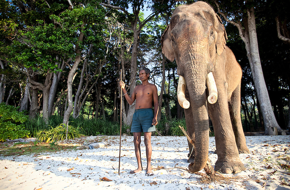 Rajan and his Mahout take a moment before going for a dip