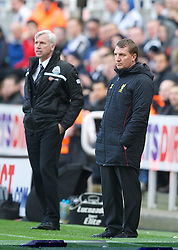 27.04.2013, St. James Park, Newcastle, ENG, Premier League, Newcastle United vs FC Liverpool, 35. Runde, im Bild Liverpool's manager Brendan Rodgers and Newcastle United's manager Alan Pardew during during the English Premier League 35th round match between Newcastle United and Liverpool FC at the St. James Park, Newcastle, Great Britain on 2013/04/27. EXPA Pictures © 2013, PhotoCredit: EXPA/ Propagandaphoto/ David Rawcliffe..***** ATTENTION - OUT OF ENG, GBR, UK *****