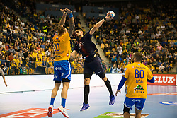 William Accambra and Kristian Beciri during handball match between RK Celje Pivovarna Lasko (SLO) and Paris Saint-Germain HB (FRA) in VELUX EHF Champions League 2018/19, on February 24, 2019 in Arena Zlatorog, Celje, Slovenia. Photo by Peter Podobnik / Sportida