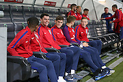 England Defender Michael Keane shares a joke with England Defender John Stones and England Forward Marcus Rashford during a general stadium walk around before the Slovenia vs England FIFA World Cup Group F Qualifier match at Stadion Stozce, Ljubljana, Slovenia on 10 October 2016. Photo by Phil Duncan.