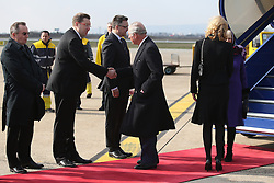 14.03.2016, Zagreb, CRO, der Britische Kronprinz Charles und seine Frau Camilla besuchen Kroatien, im Bild British Crown Prince Charles and his wife Camilla, the Duchess of Cornwall, are visiting Croatia as part of a regional tour that will include Serbia, Montenegro and Kosovo. They arrived at Zagreb Airport. EXPA Pictures © 2016, PhotoCredit: EXPA/ Pixsell/ Igor Kralj/POOL<br /> <br /> *****ATTENTION - for AUT, SLO, SUI, SWE, ITA, FRA only*****
