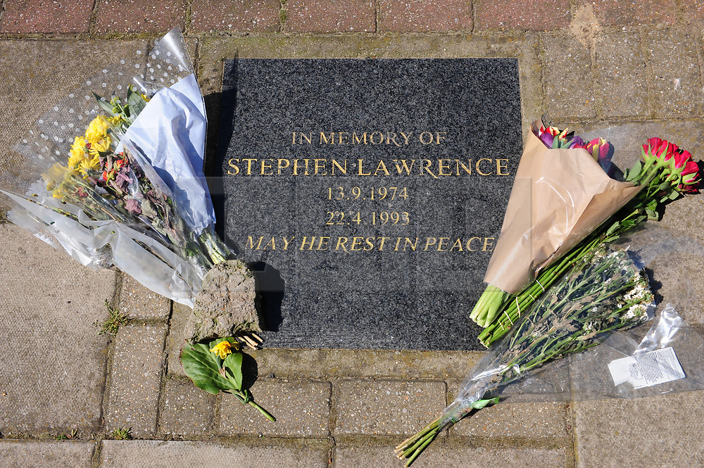 &copy; Licensed to London News Pictures.19/04/2018<br /> ELTHAM, UK.<br /> Stephen Lawrence memorial in Well Hall Road.<br /> Stephen Lawrence, 25th anniversary of his murder in Well Hall Road in Eltham is on 22nd April this Sunday.<br /> Photo credit: Grant Falvey/LNP