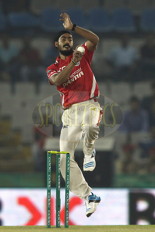 Anureet Singh of the Kings XI Punjab sends down a delivery during match 2 of the Oppo Champions League Twenty20 between the Kings XI Punjab and the Hobart Hurricanes held at the Punjab Cricket Association Stadium, Mohali, India on the 18th September 2014<br /> <br /> Photo by:  Shaun Roy / Sportzpics/ CLT20<br /> <br /> <br /> Image use is subject to the terms and conditions as laid out by the BCCI/ CLT20.  The terms and conditions can be downloaded here:<br /> <br /> http://sportzpics.photoshelter.com/gallery/CLT20-Image-Terms-and-Conditions-2014/G0000IfNJn535VPU/C0000QhhKadWcjYs