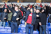 Fleetwood Town fans celebrate Fleetwood Town midfielder Josh Morris scoring a goalduring the EFL Sky Bet League 1 match between Bolton Wanderers and Fleetwood Town at the University of  Bolton Stadium, Bolton, England on 2 November 2019.