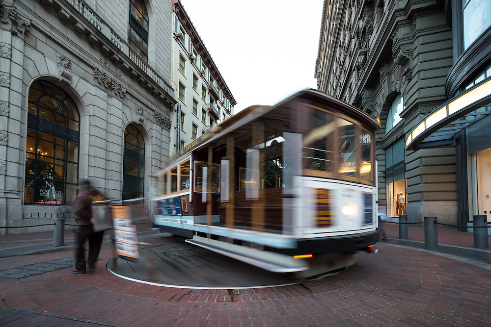 Cable Car 27 turns around on the Powell Street Turntable | March 13, 2014