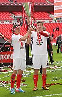 Johnstone's Paint Trophy Final - 07/04/2013 - <br /> Wembley Stadium - Crewe Alexandra vs Southend United<br /> Crewe's goal scorers Max Clayton (left) and Luke Murphy celebrate after the match with the trophy