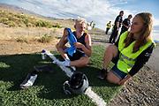 Iris Slappendel tijdens de vierde racedag. Het Human Power Team Delft en Amsterdam, dat bestaat uit studenten van de TU Delft en de VU Amsterdam, is in Amerika om tijdens de World Human Powered Speed Challenge in Nevada een poging te doen het wereldrecord snelfietsen voor vrouwen te verbreken met de VeloX 7, een gestroomlijnde ligfiets. Het record is met 121,44 km/h sinds 2009 in handen van de Francaise Barbara Buatois. De Canadees Todd Reichert is de snelste man met 144,17 km/h sinds 2016.<br /> <br /> With the VeloX 7, a special recumbent bike, the Human Power Team Delft and Amsterdam, consisting of students of the TU Delft and the VU Amsterdam, wants to set a new woman's world record cycling in September at the World Human Powered Speed Challenge in Nevada. The current speed record is 121,44 km/h, set in 2009 by Barbara Buatois. The fastest man is Todd Reichert with 144,17 km/h.
