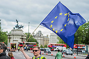 At eh Welloington Memorial - A march for Europe brings out thousands of remain supporters who march from Hyde Park to Parliament Square.