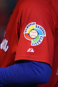 MEXICO CITY - MARCH 10: The tournament logo patch appears on the jersey of a member of the Cuba team during the Pool B, game four against Australia in the first round of the 2009 World Baseball Classic at Foro Sol Stadium in Mexico City, Mexico, Tuesday March 10, 2009. Cuba defeated Australia 5-4. (Photo by Paul Spinelli/WBCI/MLB Photos)